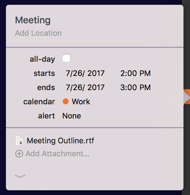 View attachments in an event's details