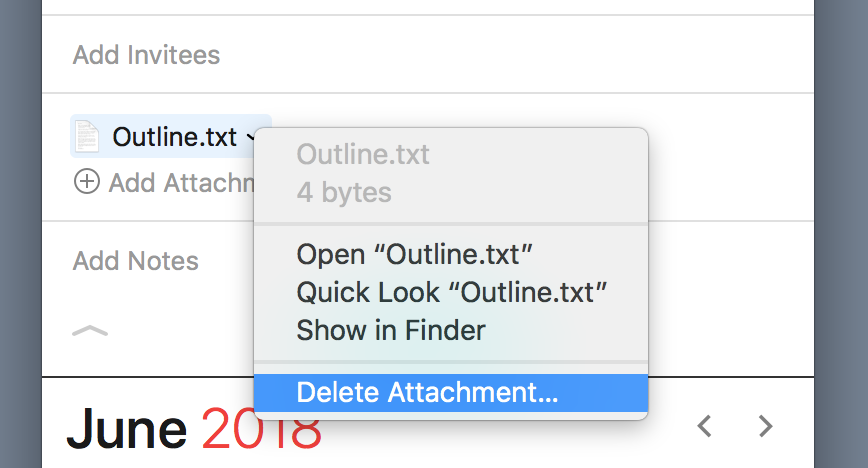 Delete attachment